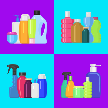 Bath bottles banner vector illustration. Plastic containers bottles, tubes and jars for cream, body lotion, shampoo and soap, milk and gel. Household bottles, cleaning liquid.