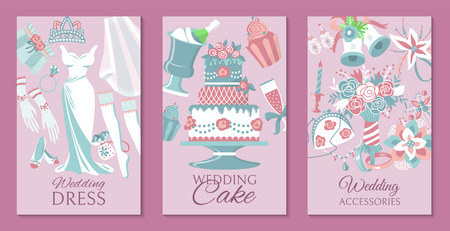 Bride accessories set of cards, posters vector illustration. Wedding dress, cake, cupcakes, glass of champagne, shoes, engagement rings, gloves, necklace, tiara, stockings.