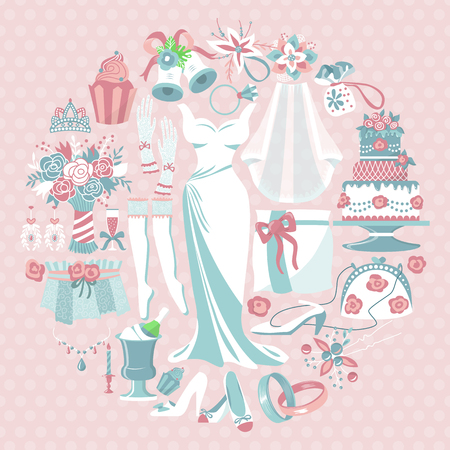 Bride accessories round pattern vector illustration. Items for wedding ceremony. Wedding dress, cake, cupcakes, glass of champagne, shoes, engagement rings, gloves, necklace. Illustration