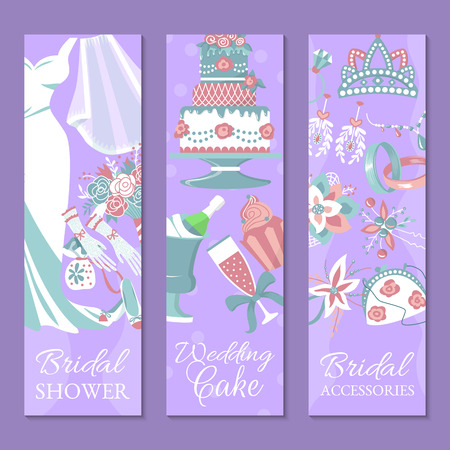 Bridal shower set of banners vector illustration. Save the date. Wedding cake. Wedding accessories such as flower bouquet, dress, glass with champagne, cake, gloves, shoes, garters.
