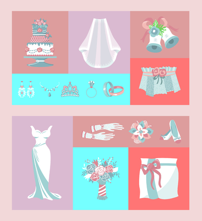 Bridal accessories set of banners vector illustration. Items for wedding ceremony. Marriage elements dress, shoes, bouquet, veil, necklace, cake, engagement rings, gloves earrings tiara bells