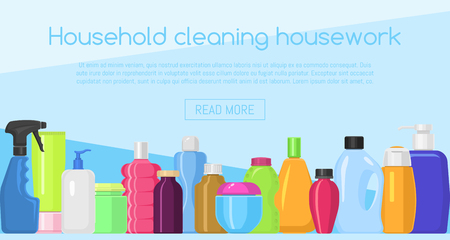 Bath bottles banner vector illustration. Plastic containers bottles, tubes and jars for cream, body lotion, shampoo and soap, milk and gel. Household chemicals bottles, cleaning housework liquid.