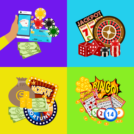 Casino online banner vector illustration. Includes roulette, casino chips, playing cards, winning jackpot money. Sack of money, credit card, dice, golden coins. Wheel fortune. Vector Illustration