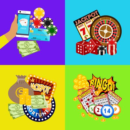 Casino-Online-Banner-Vektor-Illustration. Beinhaltet Roulette, Casino-Chips, Spielkarten, Jackpot-Geldgewinne. Geldsack, Kreditkarte, Würfel, Goldmünzen. Rad Glück. Vektorgrafik