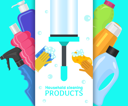 Household cleaning products banner vector illustration. Home clean tools such as brush,bucket, window wipes and chemicals tool. Broom, antiseptic wipes and rubber gloves, washing detergents. Illustration