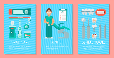 Dentistry set of banners vector illustration. Dental clinic, oral care. Set of dental tools and equipment. Friendly smiling male dentist. Orthodontics. Healthy clean teeth.