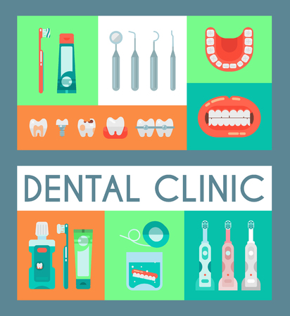Dentistry set of banners vector illustration. Dental clinic, oral care with electronic brush, paste, mouse wash. Set of dental tools and equipment. Orthodontics. Bad teeth with cavities and caries. Stock Vector - 123779784