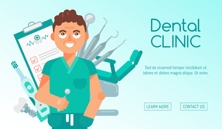 Dental clinic banner vector illustration. Dental care web design. Set of dental tools and equipment. Friendly smiling dentist. Dentistry, Orthodontics. Healthy clean teeth. Patient chair.