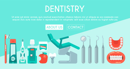 Dental clinic banner vector illustration. Dental care web design. Set of dental tools and equipment. Dentistry, Orthodontics. Healthy clean teeth. Teeth brush, paste, tooth wash and floss.