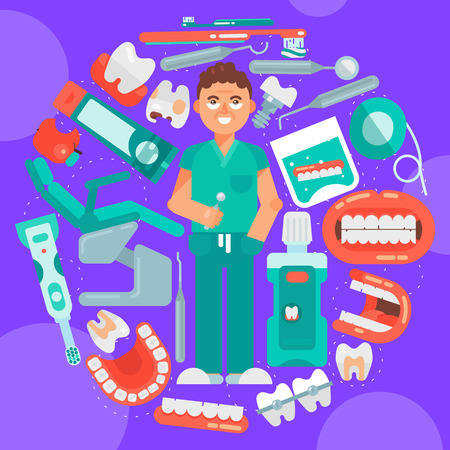 Dental clinic banner vector illustration. Dental care. Set of dental tools and equipment. Dentistry, Orthodontics. Healthy clean teeth. Teeth brush paste, tooth wash, floss. Smiling male dentist.