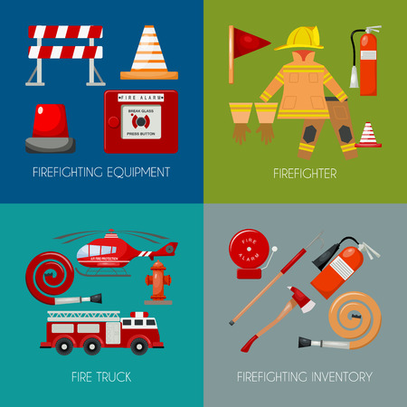 Fire safety banner vector illustration. Firefighter iniform and inventory. Helmet, gloves. Equipment as firehose hydrant fire alarm bollard extinguisher station engine, helicopter. Stock Illustratie