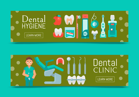 Dental clinic set of banners vector illustration. Dental hygiene web design. Set of dental tools and equipment. Friendly smiling dentist. Dentistry, Orthodontics. Healthy clean teeth. Patient chair.