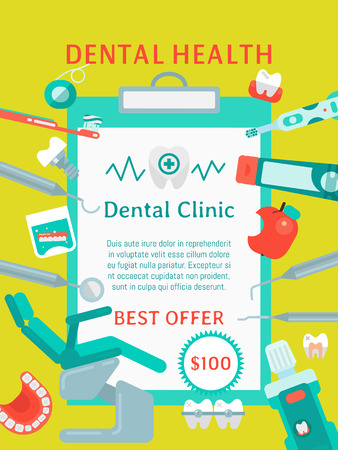 Dental health poster vector illustration. Dental care. Set of dental tools and equipment. Dentistry, Orthodontics. Healthy clean teeth. Teeth brush paste, tooth, floss. Examination chair. Best offer.