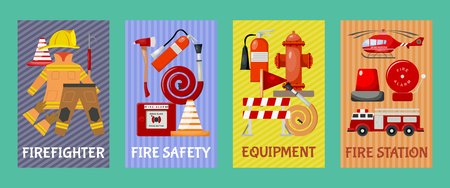 Fire safety set of cards, banners vector illustration. Firefighter uniform and inventory. Equipment as firehose hydrant alarm, bollard, extinguisher station. engine, helicopter. Stock Illustratie