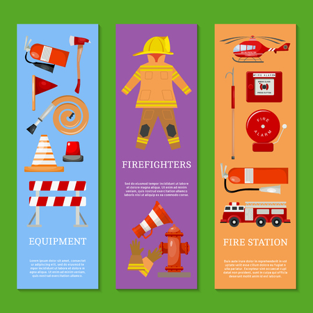 Fire safety set of banners vector illustration. Firefighter uniform. Helmet, gloves. Equipment as firehose hydrant, alarm, bollard, extinguisher station engine, helicopter. Stock Illustratie