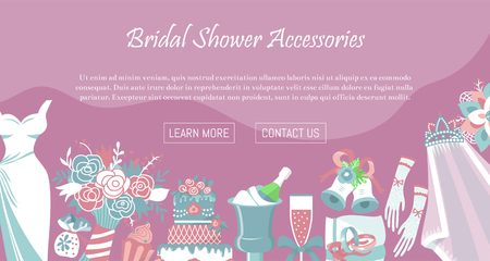 Bridal shower accessories banner vector illustration. Save the date. Wedding day. Marriage elements flower bouquet, dress, glass with champagne, cake, gloves, shoes, garters bells veil rings Standard-Bild - 123745434