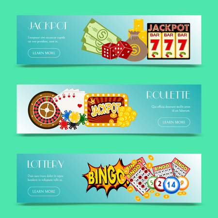 Casino concept set of banners vector illustration. Includes roulette, casino chips, playing cards, winning jackpot. Sack of money, credit card, dice, golden coins. web design.