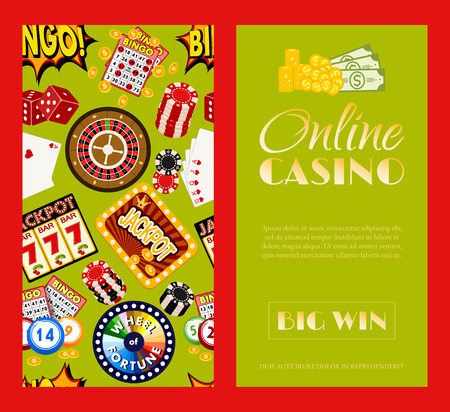 Casino online set of banners vector illustration. Includes roulette, casino chips, playing cards, winning jackpot. Sack of money, credit card, dice, golden coins. Big win. Illustration