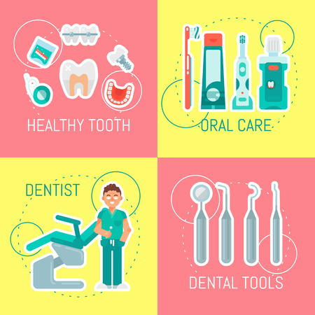 Dentistry set of banners vector illustration. Dental clinic, oral care. Set of dental tools and equipment. Friendly smiling male dentist. Orthodontics. Healthy clean teeth. Examination chair. 向量圖像