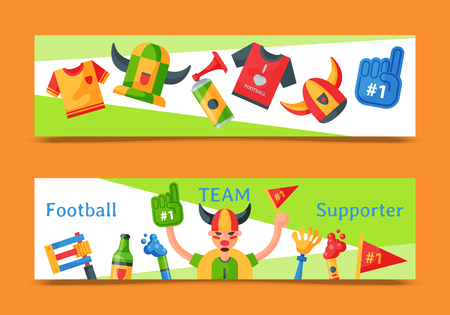 Football team supporter set of banners vector illustration. Soccer sport fan attribute, rooter man accessories and supplies to cheer for your favorite team. Sport uniform.