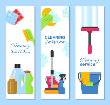 Cleaning supplies banner vector illustration. Home clean tools. Brush,bucket, window wipes and chemicals tool. Broom, antiseptic wipes and rubber gloves, washing detergents. Illustration