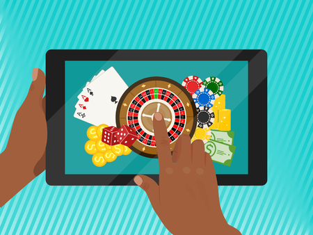 Casino online banner vector illustration. Includes roulette, casino chips, playing cards, winning money. Dice, cash, golden coins. Hands holding tablet with Internet game. Illusztráció