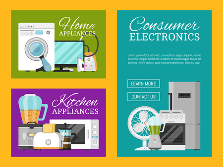 Electronic household appliances set of banners vector illustration. Kitchen and home equipment for house. Washing machine, vacuum cleaner, microwave oven, kettle, TV set, iron.