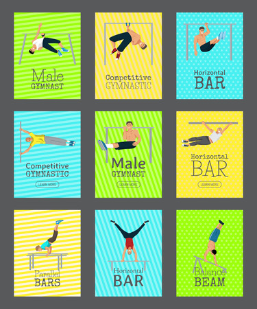 Male gymnast set of cards vector illustration. Competitive gymnastic. Horizontal bar. Parallel bars. Balance beam. Athlete man banners. Exercising men in different poses. Boys are training in club. Foto de archivo - 123709191