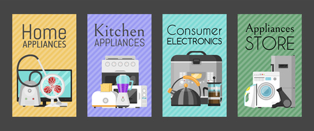 Electronic household appliances set of cards vector illustration. Kitchen and home equipment for house. Washing machine, vacuum cleaner, microwave oven, kettle, TV set, iron.