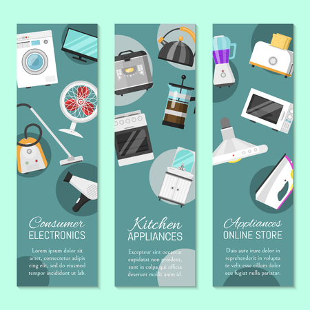 Electronic household appliances set of banners vector illustration. Kitchen and home equipment for house. Washing machine, vacuum cleaner, microwave oven, kettle, TV set.