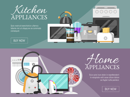 Electronic household appliances banner vector illustration. Kitchen and home equipment for house. Washing machine, vacuum cleaner, microwave oven, kettle, TV set, iron, toaster. Illustration