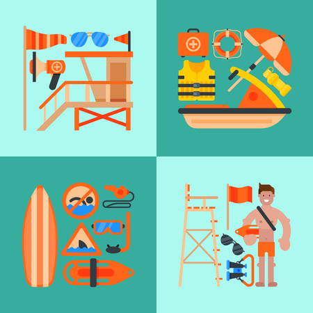 Rescue worker banner vector illustration. Lifeguard equipment. Rescue worker station. Lifeguard training. Supplies as life vest, chair, flag, whistle, megaphone, rescue can, ring buoy glasses