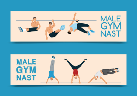 Male gymnast set of banners vector illustration. Competitive gymnastic. Horizontal bar. Parallel bars. Balance beam. Athlete man flyer. Exercising men in different poses. Boys are training in club. Foto de archivo - 123709194