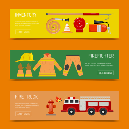 Fire safety banners vector illustration. Firefighting equipment and inventory firehose hydrant, alarm, bollard, extinguisher. Fireman uniform with helmet and gloves engine, match.