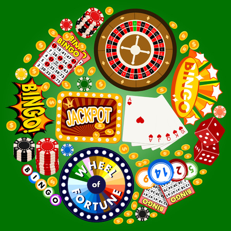 Casino concept round pattern vector illustration. Includes roulette, casino chips, playing cards, winning jackpot money. Sack of money, credit card, dice, golden coins. Wheel fortune. Illustration