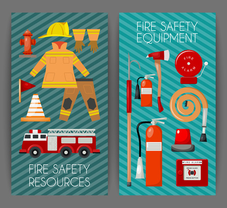 Fire safety set of banners vector illustration. Firefighter uniform and inventory. Equipment as firehose hydrant, alarm, bollard and extinguisher station.