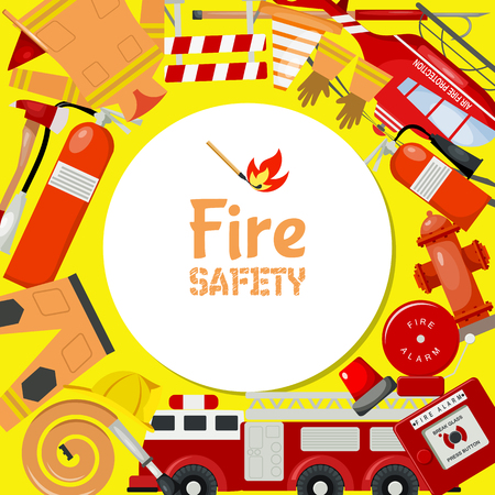 Fire safety round pattern vector illustration. Firefighting equipment and tools firehose hydrant, alarm, bollard, extinguisher. Fireman uniform with helmet and gloves engine, helicopter.