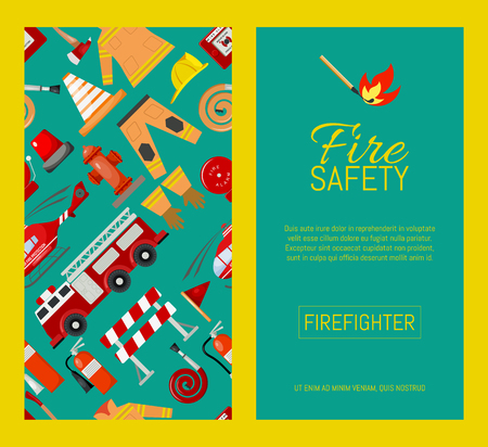 Fire safety resources set of banners vector illustration. Firefighter uniform. Helmet, gloves. Equipment as firehose hydrant, fire alarm, bollard, fire extinguisher. Fire station.