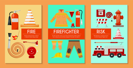 Fire safety set of cards, banners vector illustration. Firefighter uniform and inventory. Equipment as firehose hydrant alarm, bollard, extinguisher station. engine, helicopter. 일러스트