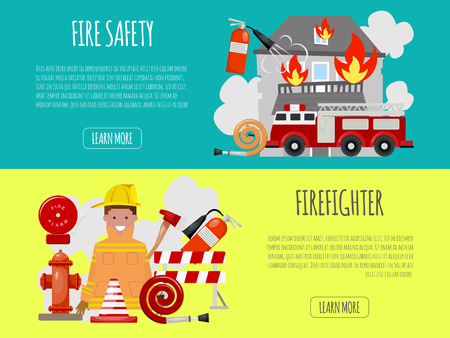 Firefighter banner vector illustration. Firefighting equipment firehose hydrant and extinguisher. Fireman in uniform with helmet and engine near house. Illustration