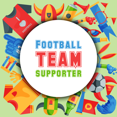 Football team supporter round pattern vector illustration. Soccer sport fan attribute, rooter buff man accessories and supplies to cheer for your favorite team. Sport uniform.