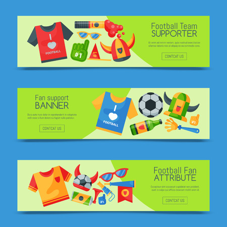 Football team supporter set of banners vector illustration. Soccer sport fan attribute, rooter buff man accessories and supplies to cheer for your favorite team. Sport uniform, ball, glasses, beer. Reklamní fotografie - 123709204