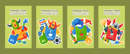 Football team supporter set of cards vector illustration. Soccer sport fan attribute, rooter buff man accessories and supplies to cheer for your favorite team. Sport uniform, ball, glasses, beer. Stock Illustratie