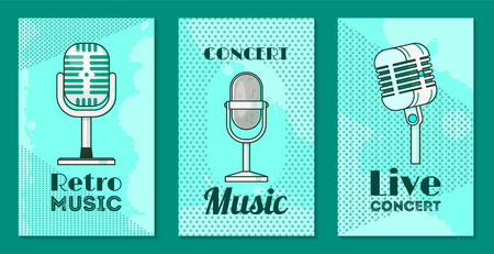 Microphone set of cards, posters vector illustration. Retro music, concert music, live concert. Recording songs by singers. Festival advertisement. Public performance banners. Wireless technologies. Foto de archivo - 123670494
