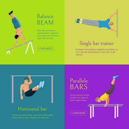 Male gymnast banner vector illustration. Competitive gymnastic. Horizontal bar. Parallel bars. Balance beam. Athlete man. Exercising men in different poses. Boys are training in sport club. Ilustrace
