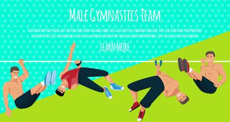 Male gymnastics team banner vector illustration. Competitive gymnastic. Horizontal bar. Parallel bars. Balance beam. Athlete man. Exercising men in different poses. Sportsman training. Ilustração