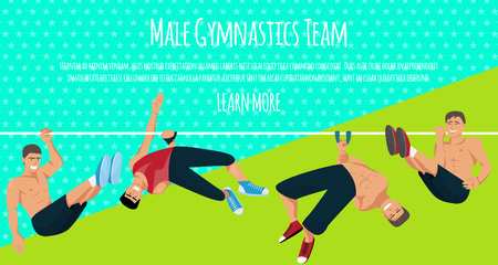 Male gymnastics team banner vector illustration. Competitive gymnastic. Horizontal bar. Parallel bars. Balance beam. Athlete man. Exercising men in different poses. Sportsman training. Illustration