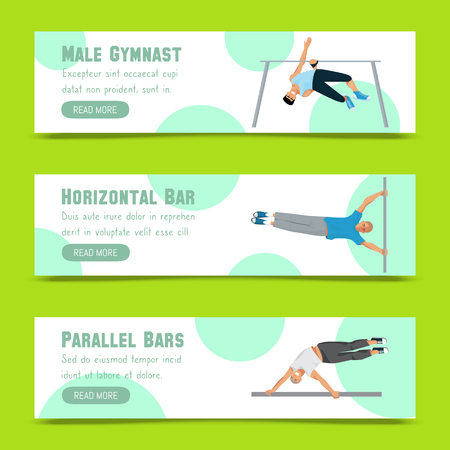 Male gymnast set of cbanners vector illustration. Competitive gymnastic. Horizontal bar. Parallel bars. Balance beam. Athlete man. Exercising men in different poses. Boys are training in sport club. Ilustração