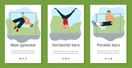 Male gymnast set of banners vector illustration. Competitive gymnastic. Horizontal bar. Parallel bars. Balance beam. Athlete man. Exercising men in different poses. Boys are training in sport club.