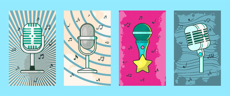 Microphone set of cards, posters vector illustration. Retro music, concert music, live concert. Recording songs by singers. Festival advertisement. Public performance banners. Wireless technologies. Foto de archivo - 123670499